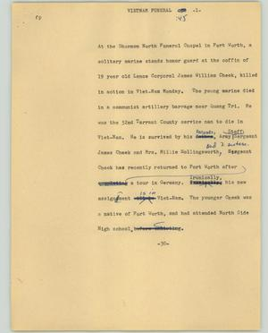 Primary view of object titled '[News Script: Vietnam funeral]'.