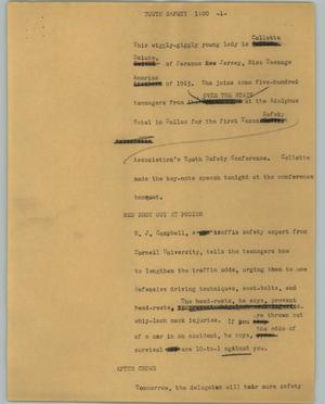 Primary view of object titled '[News Script: Youth safety]'.