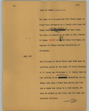 Primary view of object titled '[News Script: Body of woman]'.