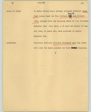 Primary view of object titled '[News Script: Killers]'.