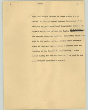 Primary view of object titled '[News Script: Greeks]'.