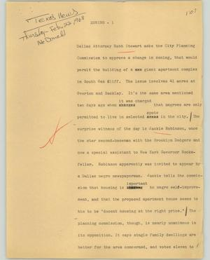 Primary view of object titled '[News Script: Zoning]'.