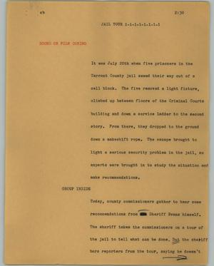 Primary view of object titled '[News Script: Jail tour]'.