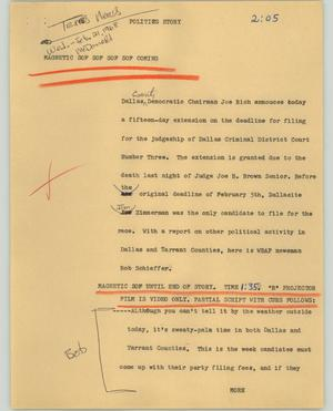 Primary view of object titled '[News Script: Politics story]'.