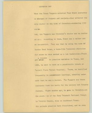 Primary view of object titled '[News Script: Groveton Doc]'.
