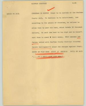 Primary view of object titled '[News Script: Kaufman (Doctor)]'.