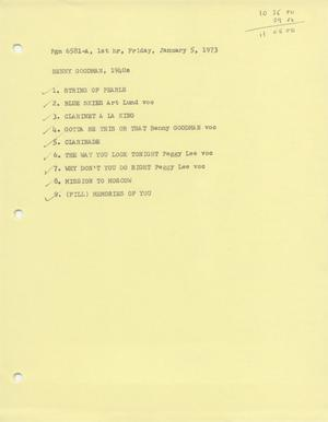 Primary view of object titled 'Music USA playlists, January-June 1973'.