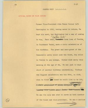 Primary view of object titled '[News Script: Garner obit]'.