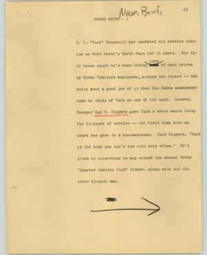 Primary view of object titled '[News Script: Hobbs watch]'.