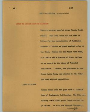 Primary view of object titled '[News Script: Elks convention]'.