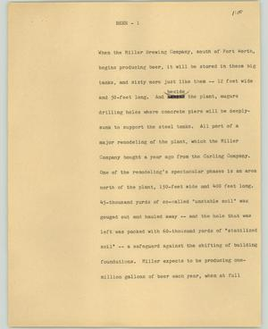 Primary view of object titled '[News Script: Beer]'.