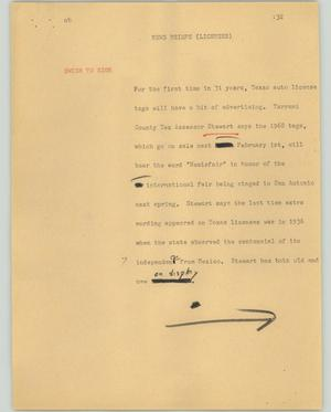 Primary view of object titled '[News Script: News briefs (Licenses)]'.