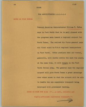 Primary view of object titled '[News Script: FAA Administration]'.