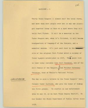 Primary view of object titled '[News Script: Garrison]'.