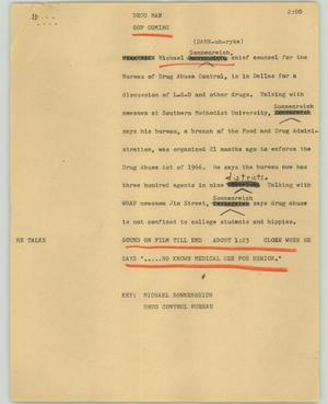 Primary view of object titled '[News Script: Drug man]'.