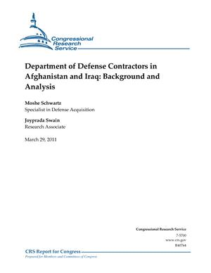 Department of Defense Contractors in Afghanistan and Iraq: Background and Analysis