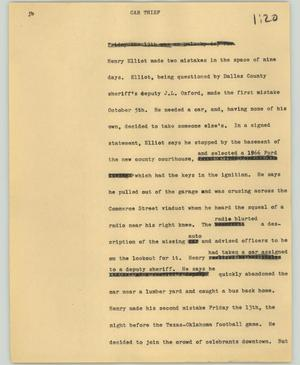 Primary view of object titled '[News Script: Car thief]'.