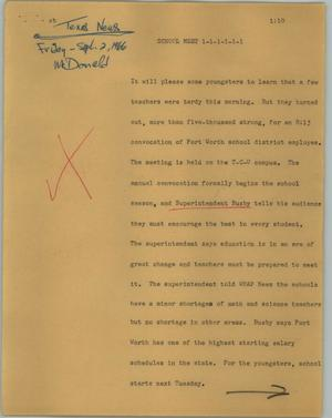 Primary view of object titled '[News Script: School meet]'.
