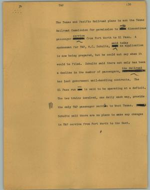 Primary view of object titled '[News Script: T&P]'.