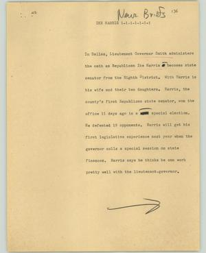 Primary view of object titled '[News Script: Ike Harris]'.