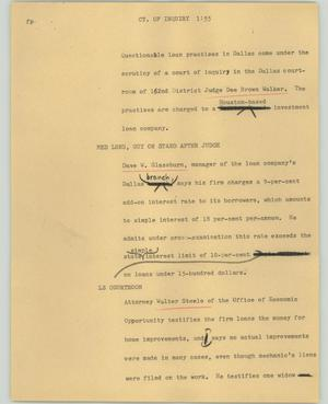 Primary view of object titled '[News Script: Ct. of Inquiry]'.