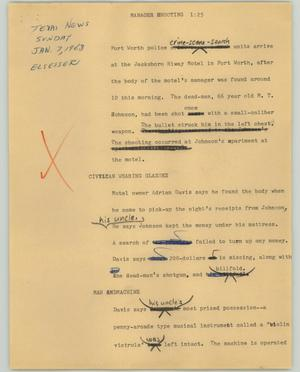 Primary view of object titled '[News Script: Manager shooting]'.