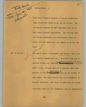 Primary view of object titled '[News Script: Strike vote]'.