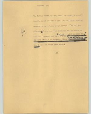 Primary view of object titled '[News Script: Tollway]'.
