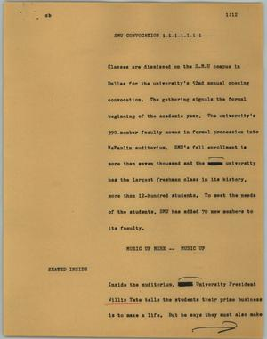 Primary view of object titled '[News Script: SMU Convocation]'.