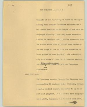 Primary view of object titled '[News Script: UTA building]'.