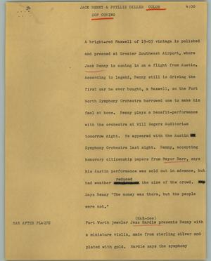 Primary view of object titled '[News Script: Jack Benny & Phyllis Diller]'.