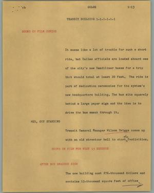 Primary view of object titled '[News Script: Transit building]'.