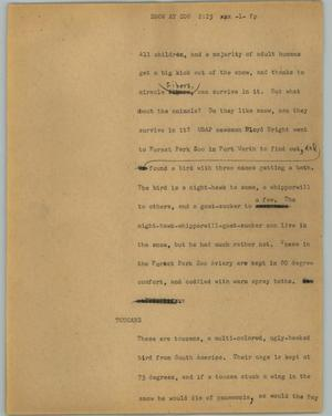 Primary view of object titled '[News Script: Snow at zoo]'.