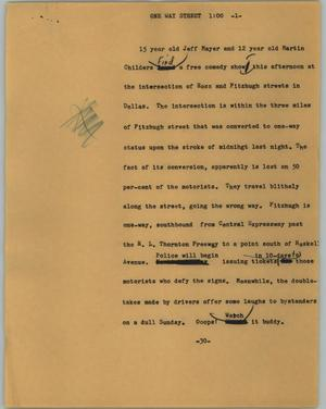 Primary view of object titled '[News Script: One way street]'.
