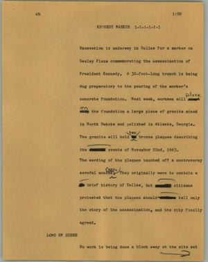 Primary view of object titled '[News Script: Kennedy marker]'.