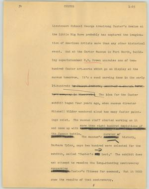 Primary view of object titled '[News Script: Custer]'.