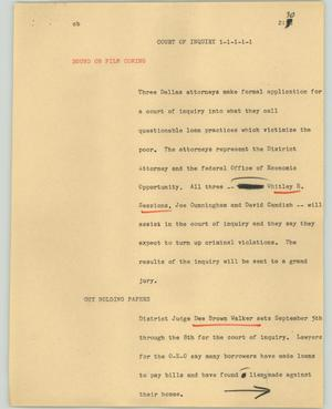Primary view of object titled '[News Script: Court of inquiry]'.