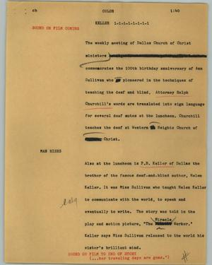 Primary view of object titled '[News Script: Keller]'.