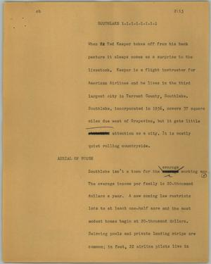 Primary view of object titled '[News Script: Southlake]'.