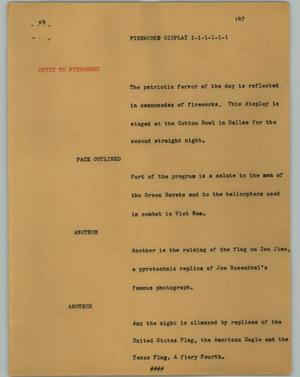 Primary view of object titled '[News Script: Fireworks display]'.