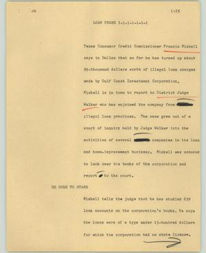 Primary view of object titled '[News Script: Loan probe]'.