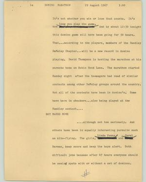 Primary view of object titled '[News Script: Domino marathon]'.
