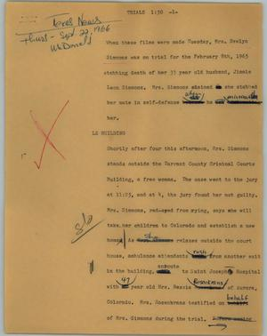 Primary view of object titled '[News Script: Trials]'.