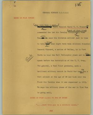 Primary view of object titled '[News Script: General Kinnard]'.