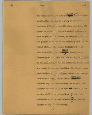 Primary view of object titled '[News Script: Birds]'.