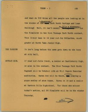 Primary view of object titled '[News Script: Teens]'.