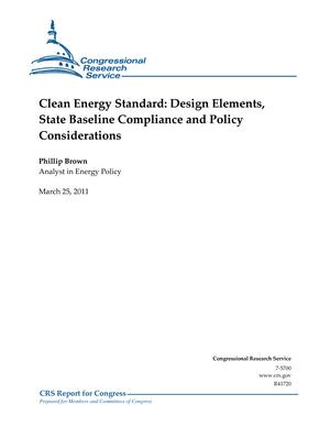 Clean Energy Standard: Design Elements, State Baseline Compliance and Policy Considerations