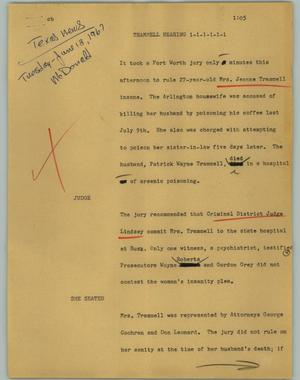 Primary view of object titled '[News Script: Trammel hearing]'.