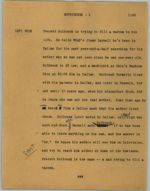 Primary view of object titled '[News Script: Motherseek]'.