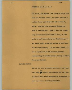 Primary view of object titled '[News Script: Thurber]'.